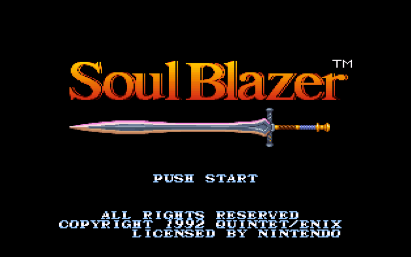 Soul Blazer title screen