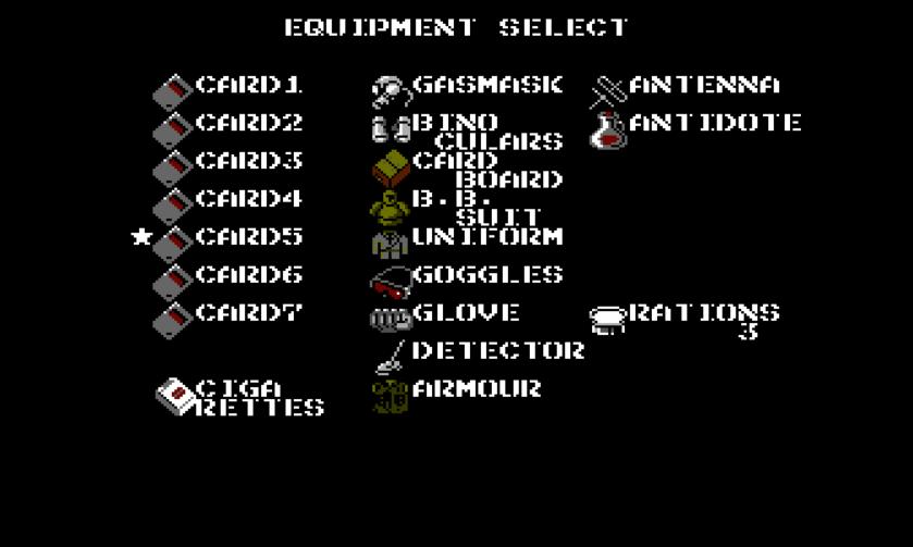 Metal Gear NES inventory