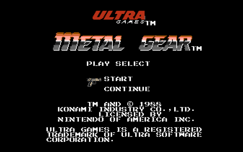 Metal Gear NES Title Screen