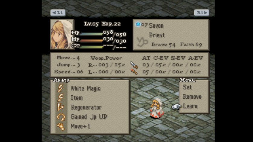 Final Fantasy Tactics Unit Stats