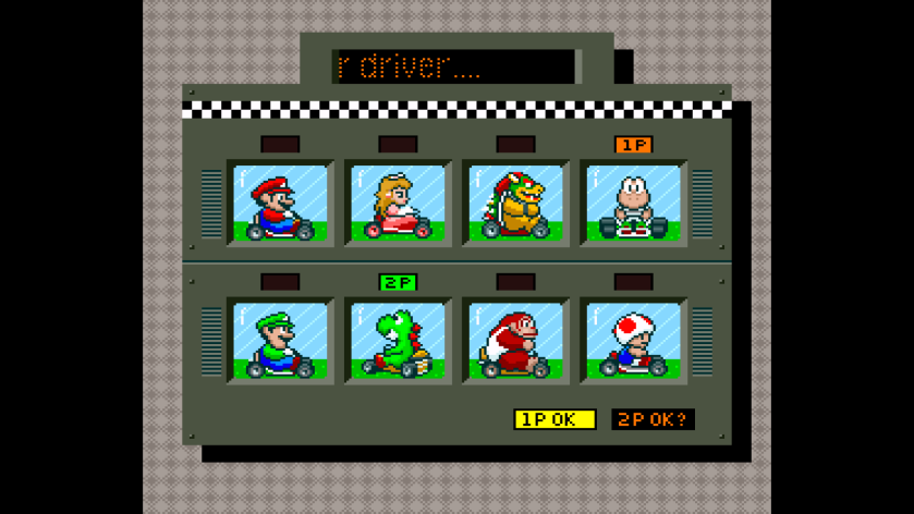 Super Mario Kart SNES driver selection
