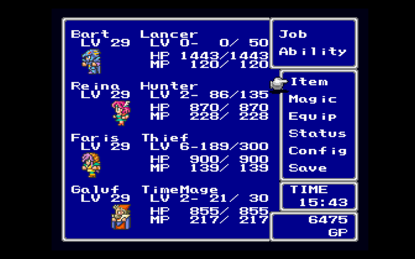 Final Fantasy V Final Fantasy Anthology Menu